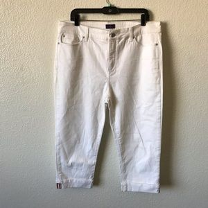 NYDJ white crop rolled up jeans